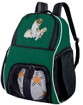 Cute Cat Soccer Ball Backpack or Kitten Volleyball Bag Green for Boys or Girls