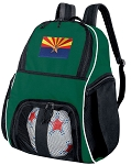 Arizona Flag Soccer Ball Backpack or Arizona Volleyball Bag Green for Boys or Girls