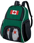 Canada Flag Soccer Ball Backpack or Canada Volleyball Bag Green for Boys or Girls