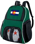 Colorado Flag Soccer Ball Backpack or Colorado Volleyball Bag Green for Boys or Girls