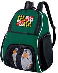 Maryland Flag Soccer Ball Backpack or Maryland Volleyball Bag Green for Boys or Girls