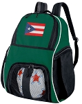Puerto Rico Flag Soccer Ball Backpack or Puerto Rico Volleyball Bag Green for Boys or Girls
