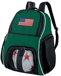American Flag Soccer Ball Backpack or USA Flag Volleyball Bag Green for Boys or Girls
