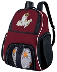 Cute Cat Soccer Backpack or Kitten Volleyball Bag Maroon
