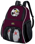 Soccer Fan Soccer Ball Backpack Bag Maroon