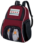 Chicago Soccer Backpack or Chicago Flag Volleyball Bag Maroon