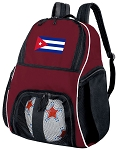 Cuba Soccer Backpack or Cuban Flag Volleyball Bag Maroon