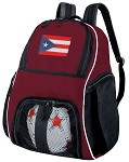 Puerto Rico Flag Soccer Backpack or Puerto Rico Volleyball Bag Maroon