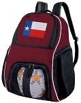 Texas Soccer Backpack or Texas Flag Volleyball Bag Maroon