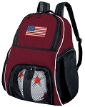 American Flag Soccer Backpack or USA Flag Volleyball Bag Maroon