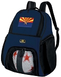 Arizona Flag Soccer Ball Backpack or Arizona Volleyball Practice Gear Bag Navy
