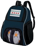 Chicago Soccer Ball Backpack or Chicago Flag Volleyball Practice Gear Bag Navy