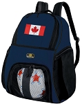 Canada Flag Soccer Ball Backpack or Canada Volleyball Practice Gear Bag Navy