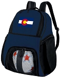 Colorado Flag Soccer Ball Backpack or Colorado Volleyball Practice Gear Bag Navy
