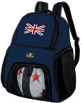 England British Flag Soccer Ball Backpack or United Kingdom Volleyball Practice Gear Bag Navy