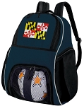 Maryland Flag Soccer Ball Backpack or Maryland Volleyball Practice Gear Bag Navy