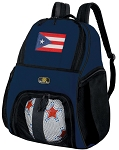 Puerto Rico Flag Soccer Ball Backpack or Puerto Rico Volleyball Practice Gear Bag Navy