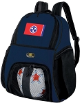 Tennessee Soccer Ball Backpack or Tennessee Flag Volleyball Practice Gear Bag Navy