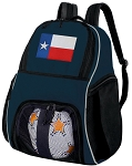 Texas Soccer Ball Backpack or Texas Flag Volleyball Practice Gear Bag Navy