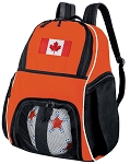 Canada Flag Soccer Ball Backpack or Canada Volleyball Gear Bag Orange