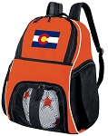 Colorado Flag Soccer Ball Backpack or Colorado Volleyball Gear Bag Orange