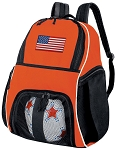 American Flag Soccer Ball Backpack or USA Flag Volleyball Gear Bag Orange