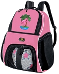 Girls Pink Flamingo Soccer Backpack or Flamingos Volleyball Bag