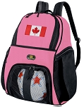Girls Canada Flag Soccer Backpack or Canada Volleyball Bag
