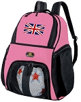 Girls England British Flag Soccer Backpack or United Kingdom Volleyball Bag