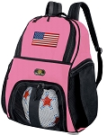 Girls American Flag Soccer Backpack or USA Flag Volleyball Bag