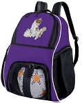 Kitten Soccer Backpack or Cute Cat Volleyball Practice Bag Purple