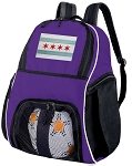 Chicago Flag Soccer Backpack or Chicago Volleyball Practice Bag Purple