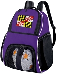 Maryland Soccer Backpack or Maryland Flag Volleyball Practice Bag Purple
