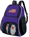 USA Flag Soccer Backpack or American Flag Volleyball Practice Bag Purple