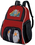 Cat Soccer Backpack or Cats Volleyball Practice Bag Red Boys or Girls