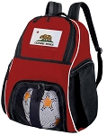 California Flag Soccer Backpack or California Volleyball Practice Bag Red Boys or Girls