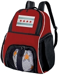 Chicago Flag Soccer Backpack or Chicago Volleyball Practice Bag Red Boys or Girls