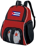 Cuban Flag Soccer Backpack or Cuba Volleyball Practice Bag Red Boys or Girls