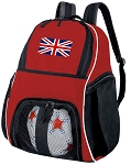 United Kingdom Soccer Backpack or England British Flag Volleyball Practice Bag Red Boys or Girls