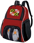 Maryland Soccer Backpack or Maryland Flag Volleyball Practice Bag Red Boys or Girls