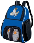 Cute Cat Soccer Backpack or Kitten Volleyball Practice Bag Boys or Girls Blue