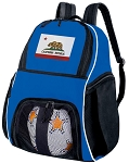 California Soccer Backpack or California Flag Volleyball Practice Bag Boys or Girls Blue