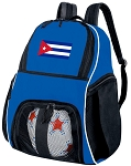 Cuba Soccer Backpack or Cuban Flag Volleyball Practice Bag Boys or Girls Blue