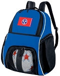 Tennessee Soccer Backpack or Tennessee Flag Volleyball Practice Bag Boys or Girls Blue