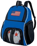 American Flag Soccer Backpack or USA Flag Volleyball Practice Bag Boys or Girls Blue