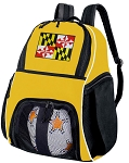 Maryland Flag Soccer Ball Backpack or Maryland Volleyball For Girls or Boys Practice