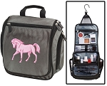 Horse Theme Toiletry Bag or Horse Shaving Kit Organizer for Him Gray