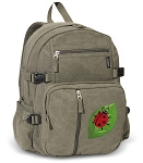 Ladybug Canvas Backpack Olive