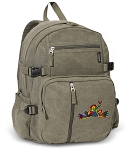 Peace Frogs Canvas Backpack Olive