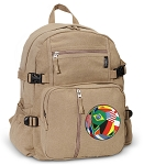 Soccer Canvas Backpack Tan